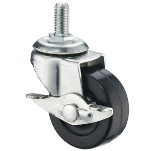 50mm Threaded Stem Casters With Hard Rubber Wheels - 50mm Threaded Stem Casters With Hard Rubber Wheels