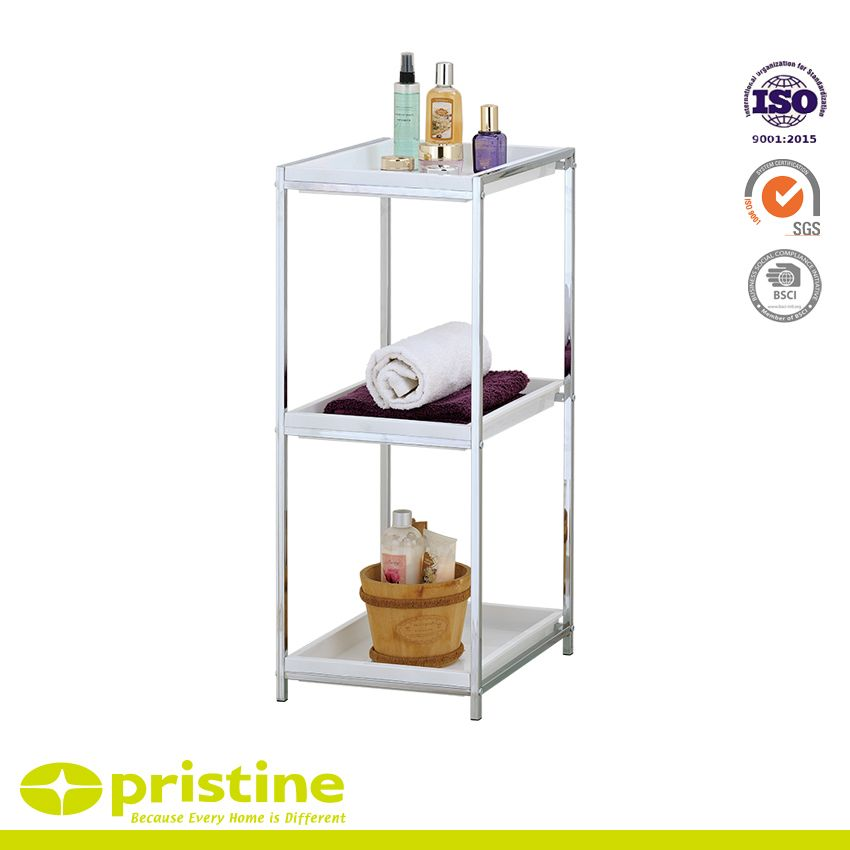 3 Tier Chrome Bathroom Storage Unit White Plastic Tray Shelf | Metal ...