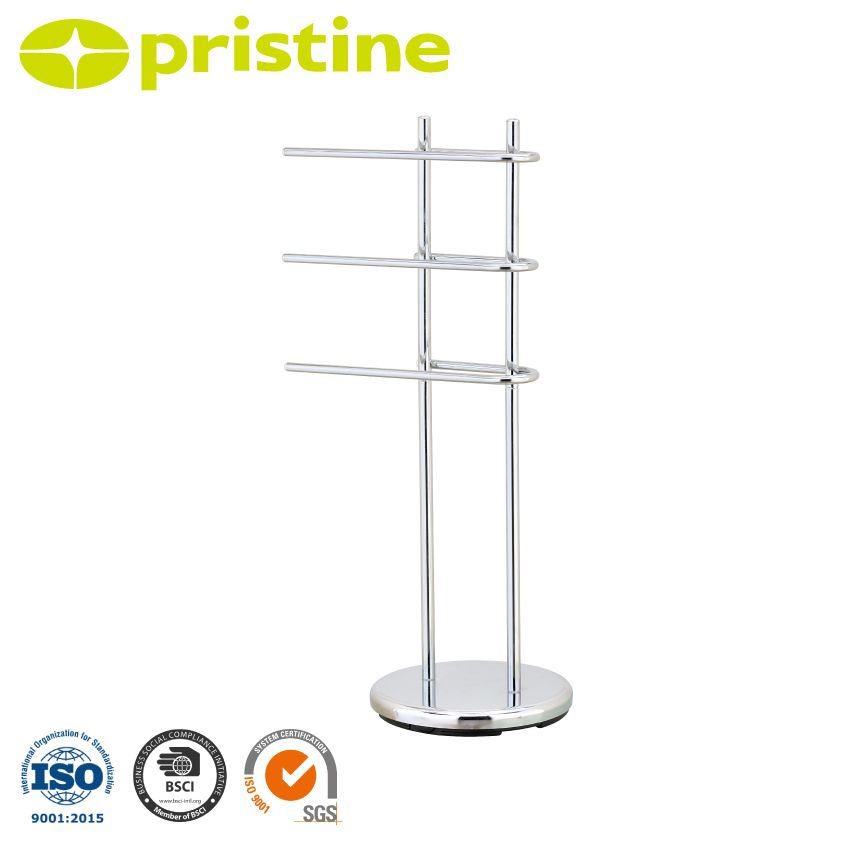 Floor standing towel stand with 3 u shaped arms home for Bathroom accessories stand