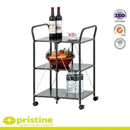 3 Tier Foldable Kitchen Cart Metal Furniture