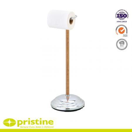 Freistehender Toilettenpapierhalter Mit Holzmaserung
