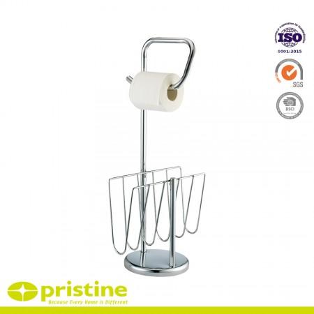 Lieblich Freistehender Toilettenpapierhalter Mit Zeitungs  Und Zeitschriftenständer  Für Das Badezimmer   Hält 1 Rolle Toilettenpapier Und