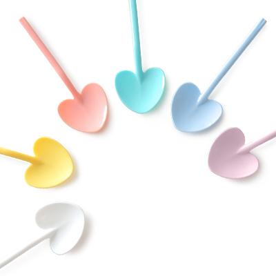 9cm Dessertlöffel mit Herzform - Hersteller für 9cm Mini-Kunststoff-Eiscreme PS-Material Löffel, auch an die Welt zu verkaufen.