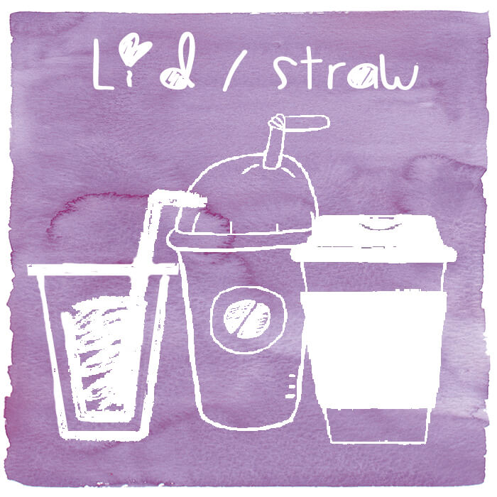 Plastic Lid / Straw - Plastic lid and plastic straw