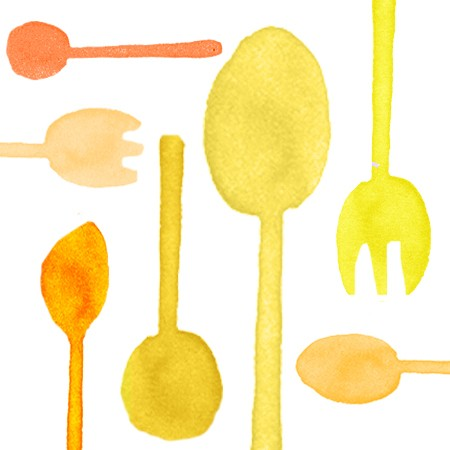 Bright Yellow Plastic Cutlery