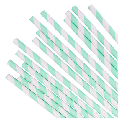 Paper Straw With Green Stripes - D:6mm Papeer Straight Straw