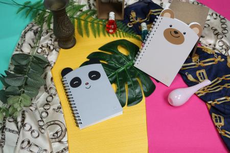 Cute animal rolled shape A6 size journal notebook