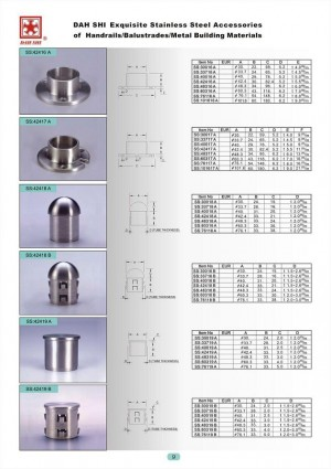 Dah Shi exquisite Stainless Steel Accessories of Handrails / Balustrades / Metal Building Materials.