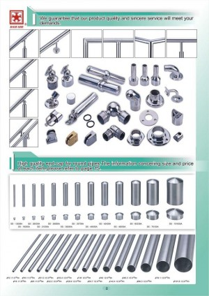 Dah Shi exquisite Stainless Steel Accessories of Handrails / Balustrades / Metal Building Materials. - high quality end-cap for round pipes. The information concering size price of each item, please refer to page 15.