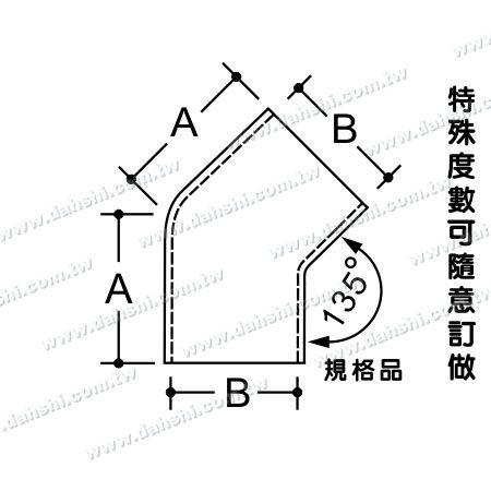 البعد: الفولاذ المقاوم للصدأ جولة أنبوب خارجي 135 درجة موصل - زاوية يمكن أن تكون مخصصة