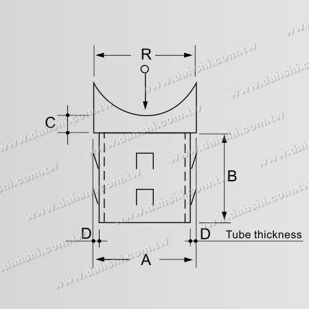 Boyut : Paslanmaz Çelik Yuvarlak Boru Küpeşte Dik Post Sırttan Konnektör - Çıkış yayı tasarım- kaynak serbest / yapıştırıcı uygulanabilir