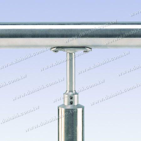 ثابت - الفولاذ المقاوم للصدأ جولة أنبوب الدرابزين عمودي آخر موصل المخفض شقة الارتفاع قابل للتعديل