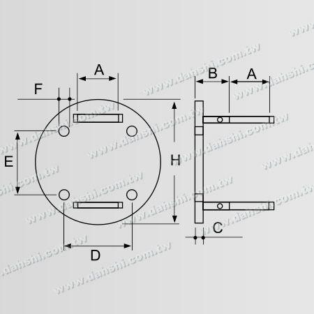 Dimension:Stainless Steel Round Tube Handrail Bracket Round Back - Tube Through