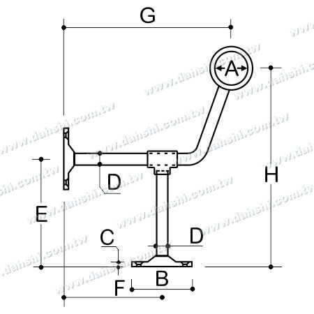 Dimension: Stainless Steel Footrest for Bar (SS:424129A)