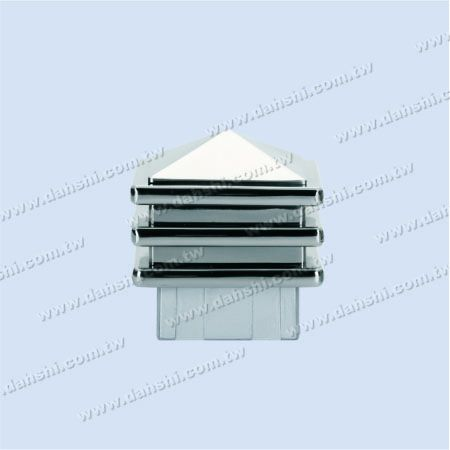 Stainless Steel Square Tube Spire Top Post End Cap - 3 Layers - Stainless Steel Square Tube Spire Top Post End Cap - 3 Layers