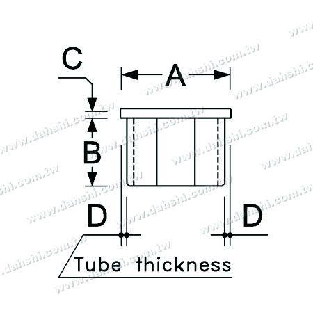 البعد : الفولاذ المقاوم للصدأ مربع أنبوب شقة الأعلى نهاية كاب