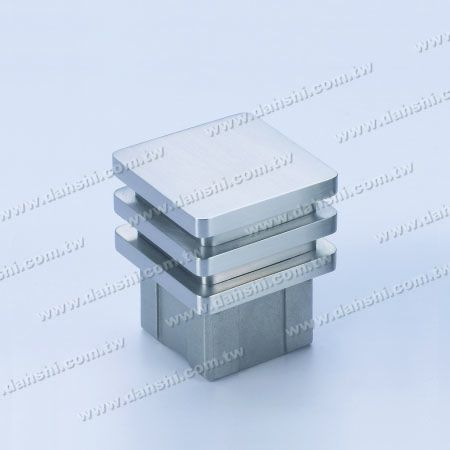 Stainless Steel Square Tube Flat Top End Cap Wide Exit - 3 Layers - Stainless Steel Square Tube Flat Top End Cap Wide Exit - 3 Layers
