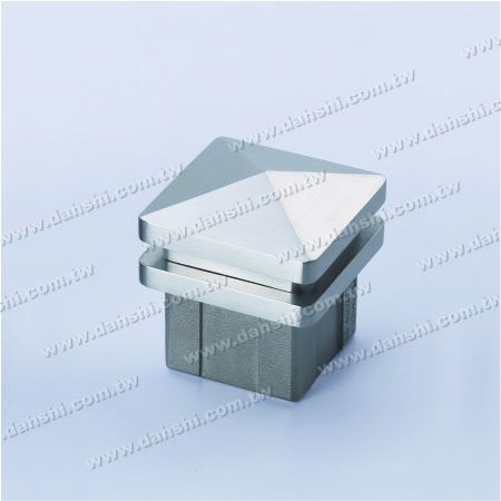Stainless Steel Square Tube Spire Top End Cap Wide Exit - 2 Layers - Stainless Steel Square Tube Spire Top End Cap Wide Exit - 2 Layers