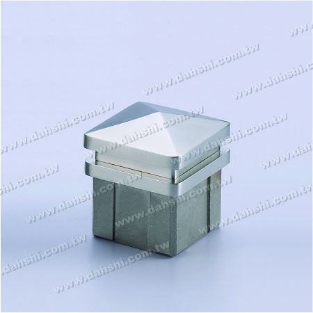 Stainless Steel Square Tube Spire Top End Cap - 2 Layers - Stainless Steel Square Tube Spire Top End Cap - 2 Layers