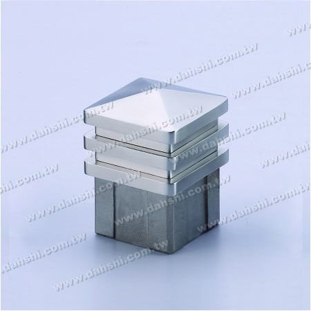 Stainless Steel Square Tube Spire Top End Cap - 3 Layers - Stainless Steel Square Tube Spire Top End Cap - 3 Layers