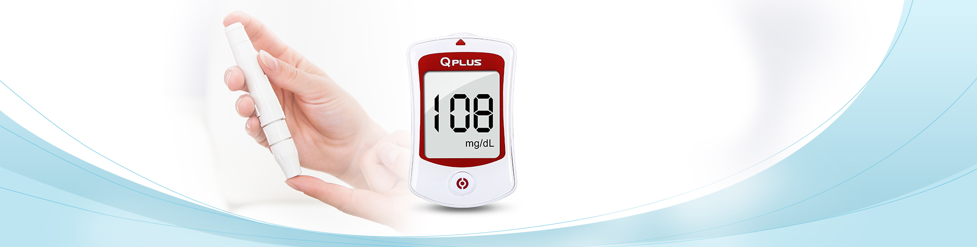 Quick Reaction & High Accuracy Qplus Glucometer Monitor blood glucose levels on a regular basis.