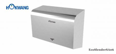 Bright Stainless Steel ADA Thin Hand Dryer - EcoSlenderSA06 ADA compliant 1000W Bright Stainless Steel  Thin Hand Dryer