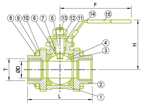 3-PC 볼 밸브