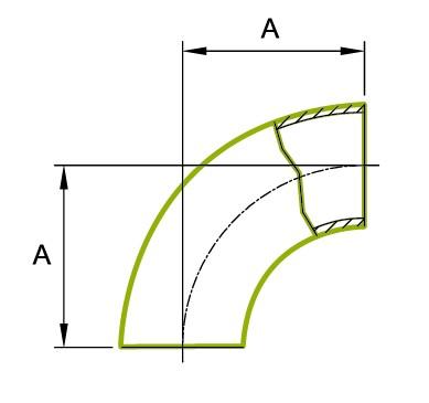 90 ° ohyb krátké trubky 1,5D 3A