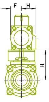 측면도 : 볼 밸브 용 액츄에이터 장착