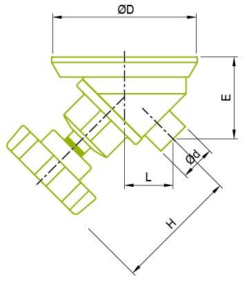 Válvula de diafragma de fondo del tanque