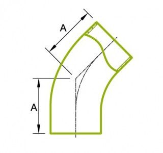 45 ° langer Rohrbogen 3A 2KS