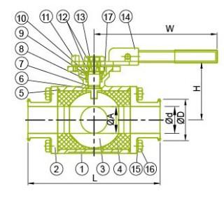 Санітарныя 3 хадавы шаравой кран 3 хадавы шаравой клапан