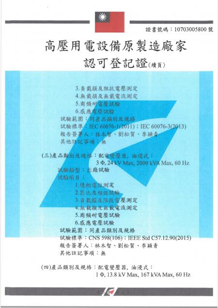 Manufacturer Certificate (CIC's Zhongli factory) for Distribution Transformers - Page 3