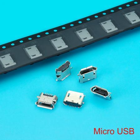 Conector Micro USB - Conector Micro USB com Contato de Bronze de Fósforo e Caixa Preta.