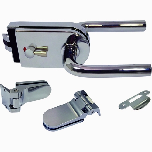 Glass Patch Lock Kit w/ mechanical latch - Glass Door Lock with mechanical latch and radius cover