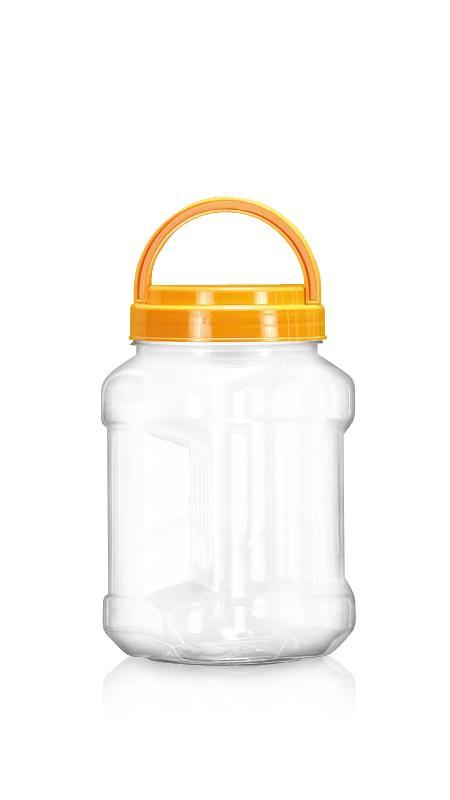 PET 89mm Series Wide Mouth Jar (D1204) - Pet-Plastic-Bottles-Square-Grip-D1204