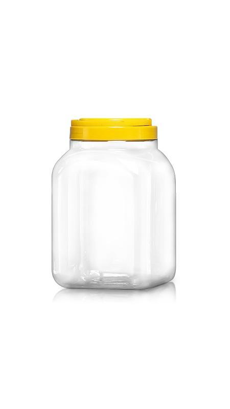 PET 120mm Series Wide Mouth Jar (J3504) - Pet-Plastic-Bottles-Square-Sharp-J3504