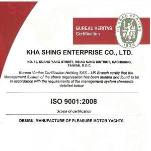 Kha Shing's ISO9001 certificate