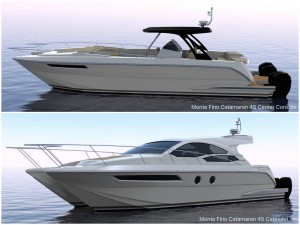Sneak peek of second generation Monte Fino Catamaran 45 center console and cabriolet model