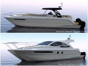 Sneak peek of second generation Monte Fino Catamaran 45 center console and cabriolet model
